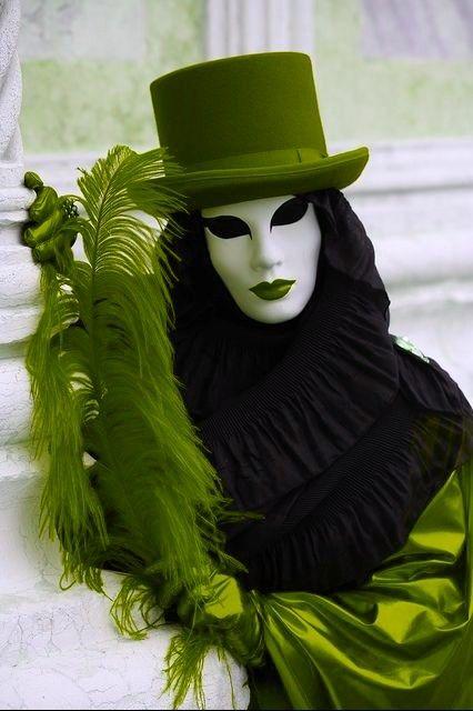 Venice Carnival figure, Venice, Italy, via Flickr. Green