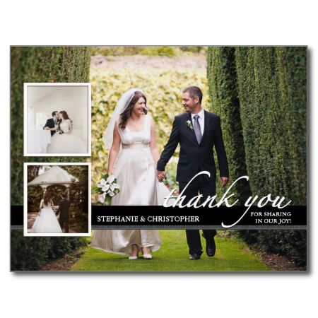 Simply elegant black, white and charcoal gray Thank You design for your wedding guests. Features places for three wedding photos and area on the back for a personal message if you wish. Matching postage also available - check denomination for postcard rate before purchasing.