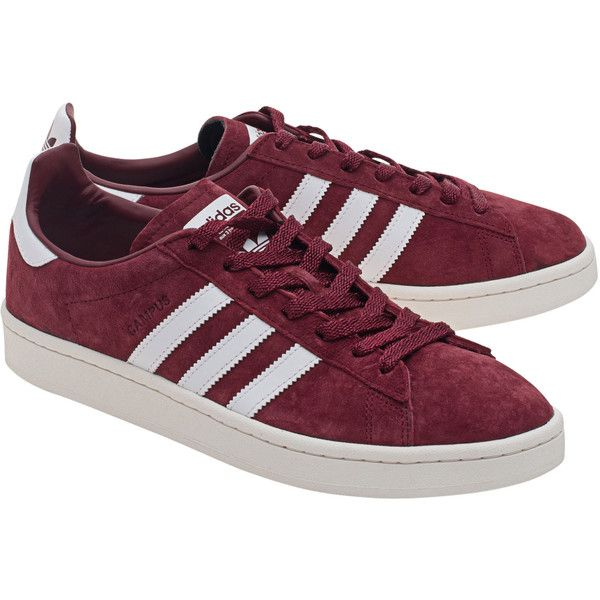 ADIDAS ORIGINALS Campus Burgundy // Suede leather sneakers ($81) ❤ liked on Polyvore featuring men's fashion, men's shoes, men's sneakers, 80s mens shoes, mens cap toe shoes, mens suede shoes, mens suede sneakers and mens burgundy shoes