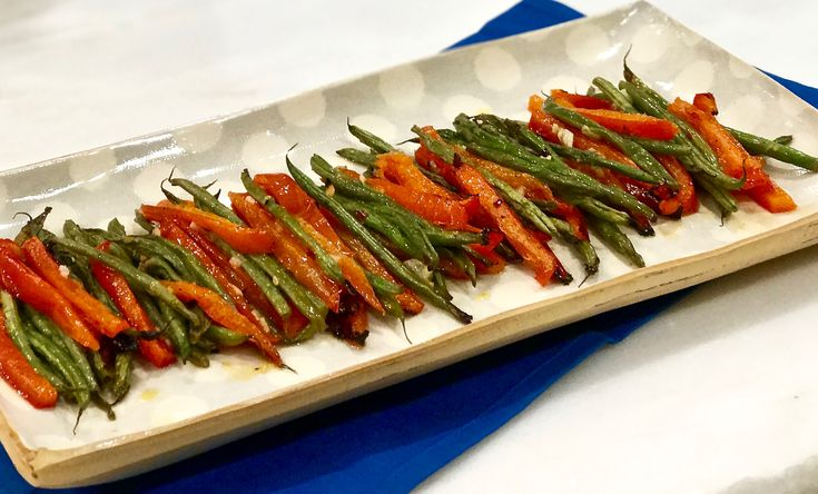 Lemon infused roasted French green beans and peppers - Simple by Cindy