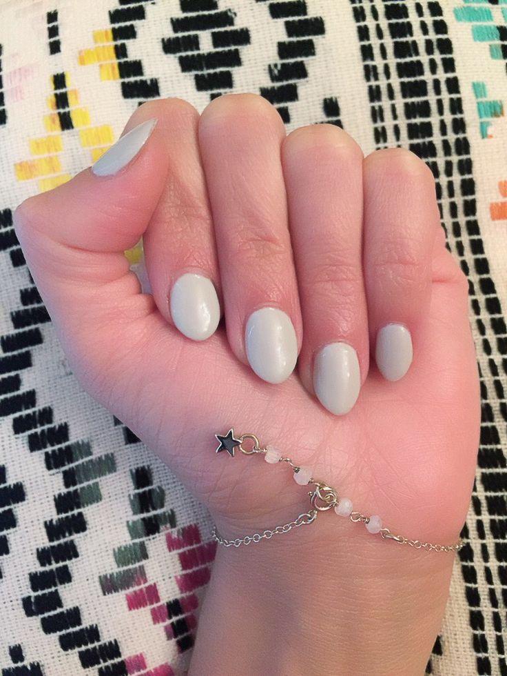 Love my Short, Pointy Nails!!! Short Almond Nails, Pale Gray Pointy Nails, Short Stilettos