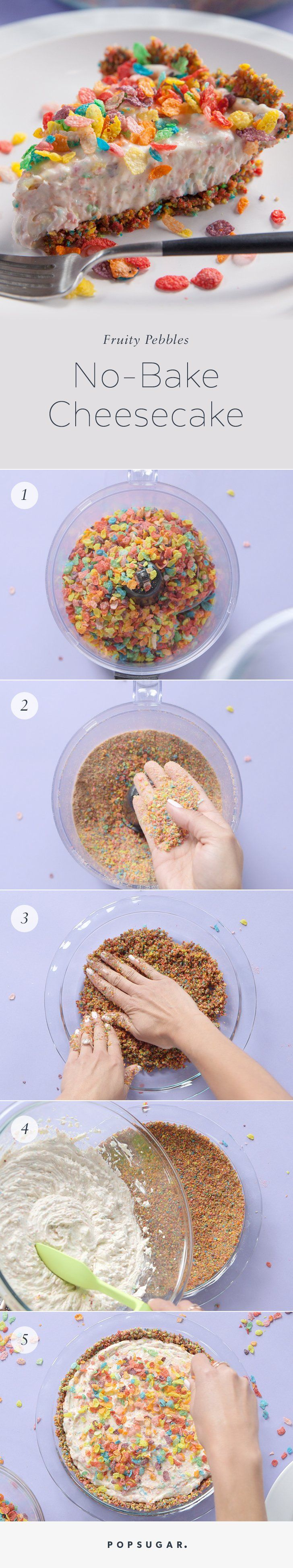 Combine your love of #FruityPebbles and #Cheesecake into one with this easy no-bake recipe