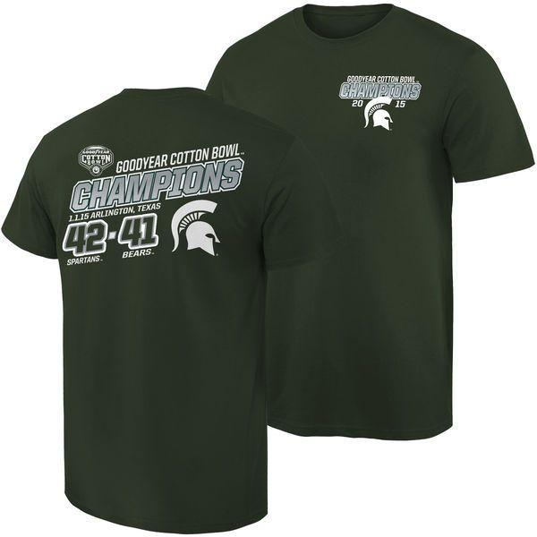 Michigan State Spartans 2015 Cotton Bowl Champions Quick Score T-Shirt - Green - $12.99