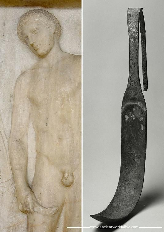 Strigil - a Roman bathing implement for removing the body dirt. As the soap was unknown, when bathing, Romans rubbed oil in their skins and then used a strigil – a special flat and curved implement – to scrape off the dirt.