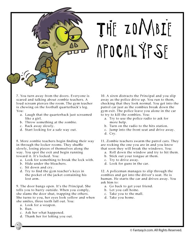 fantasy jr fun quiz page 2 for would you survive a zombie apocalypse - Halloween Quiz For Kids