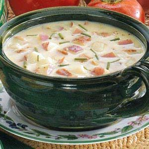 Potato Chowder Recipe - bag of hashbrowns instead of chopping potatoes, and I throw in chopped chicken meat (instead of bacon) and some frozen corn too. You can just chop the whole onion, add about half of it, put the rest in a zip lock sandwich bag in the freezer for another recipe.