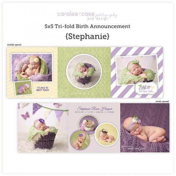Mini trifold birth announcement Newborn photography – Tri Fold Birth Announcement