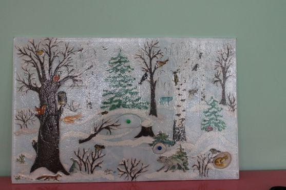 Панно животные зимой