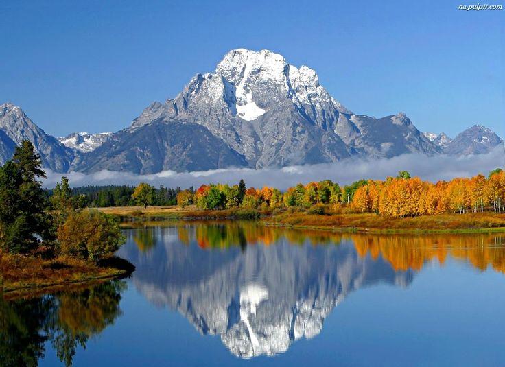 Mgła, Ośnieżone, Drzewa, Jezioro, Góry
