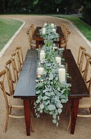 Table Runners - How amazing are these seeded eucalyptus swags for a garden wedding tablescape?! {The Nichols Studio}