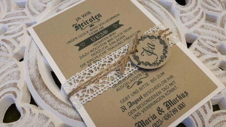 Vintage Spitze Hochzeit Einladung