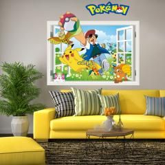 [ 60% OFF ] 3D Hot Pokemon Wall Stickers For Kids Rooms Home Decorations Pikachu Wall Decal Amination Poster Wall Art Wallpaper Kids
