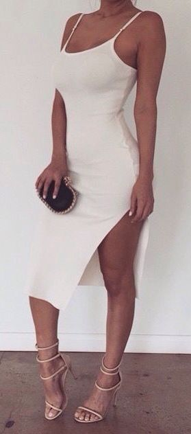 #street #style white bodycon dress @wachabuy