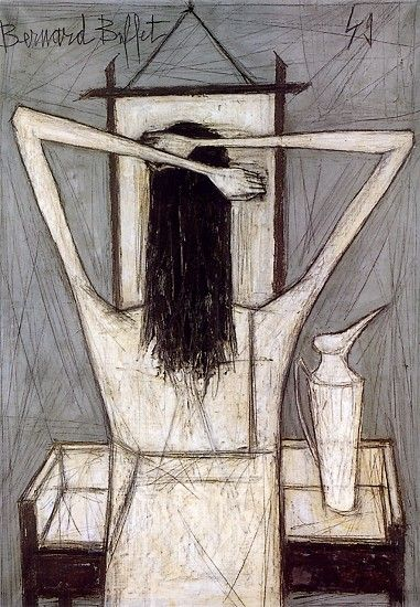 Bernard Buffet - Femme se coiffant - 1949 Bernard BUFFET ( 1928 - 1999 ) - Peintre Francais - French Painter