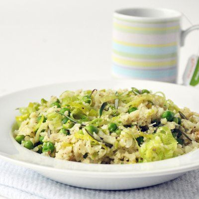 Cauliflower risotto...this is unbelievably delicious. I used mushrooms instead of peas and doubled the recipe! So good.