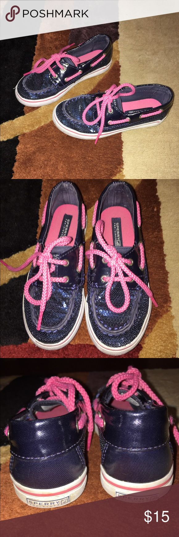 PRICE DROP $13 GIRLS SPERRY TOP SIDER SHOES SPERRY TOP SIDER NAVY SEQUIN WITH PINK LAVES BOAT SHOES EXCELLENT CONDITION SIZE 11M Sperry Top-Sider Shoes