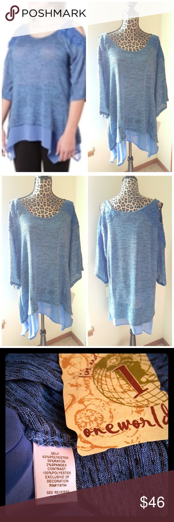 NEW Plus Size Cold Shoulder Tunic Top Brand new with tags One World Plus Size?Burnout Stripe Cold Shoulder Crochet Detail Mixed Media Tunic Top with Woven Hem.   20% off bundles or Make me an offer I'm never offended by any offer.  No trades 21men Tops Tunics