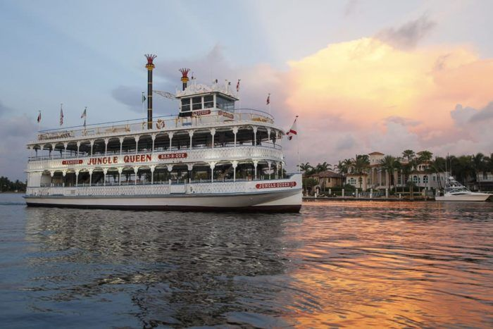 This is the impressive Jungle Queen, a double-decker riverboat that holds almost 400 passengers (plus crew).