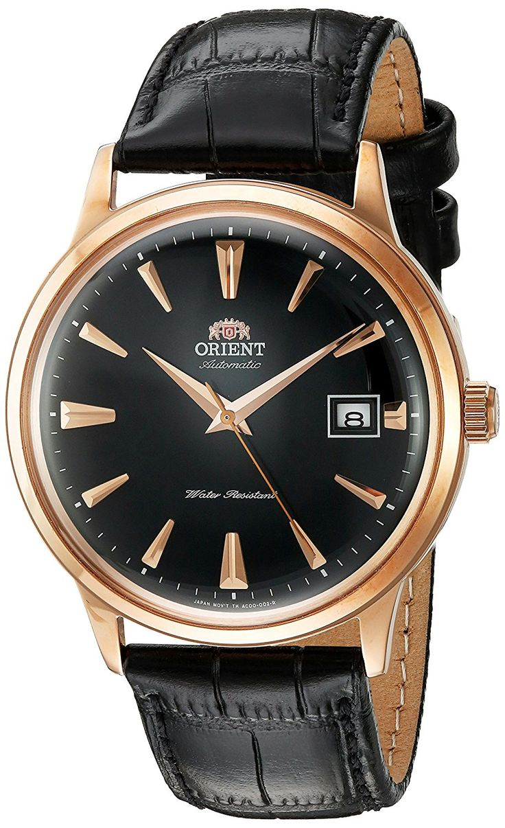 Amazon.com: Orient Men's '2nd Gen. Bambino Ver. 1' Japanese Automatic Stainless Steel and Leather Dress Watch, Color:Black (Model: FAC00001B0): Watches