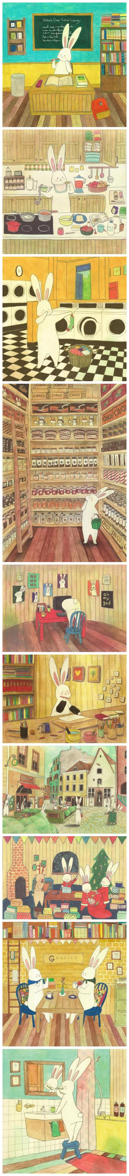 Korean illustrator the Lapinfee a group of lovely illustrations, showing the state of various life selling Meng rabbit paper ①