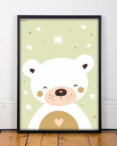 bear print kids room decor 2 tamaños kids por Ilustracionymas