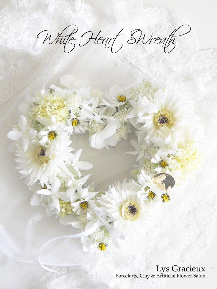 Sapporo, Artificial Flower, School, White, Wreath, Summer, Heart, Lys Gracieux, ホワイト、ハート型リース 札幌ポーセラーツ・フラワー・クレイLys Gracieux〜リスグラシュ〜