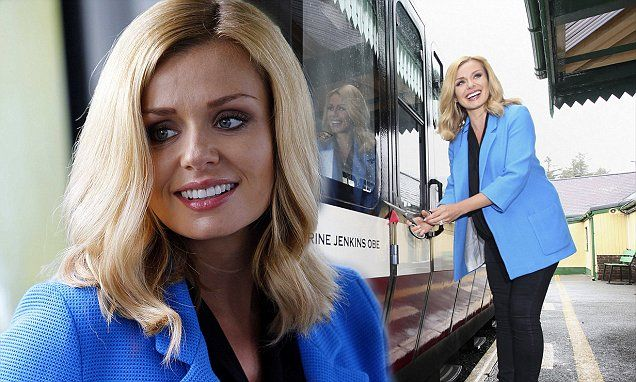 Katherine Jenkins covers up her baby bump in a cobalt blazer