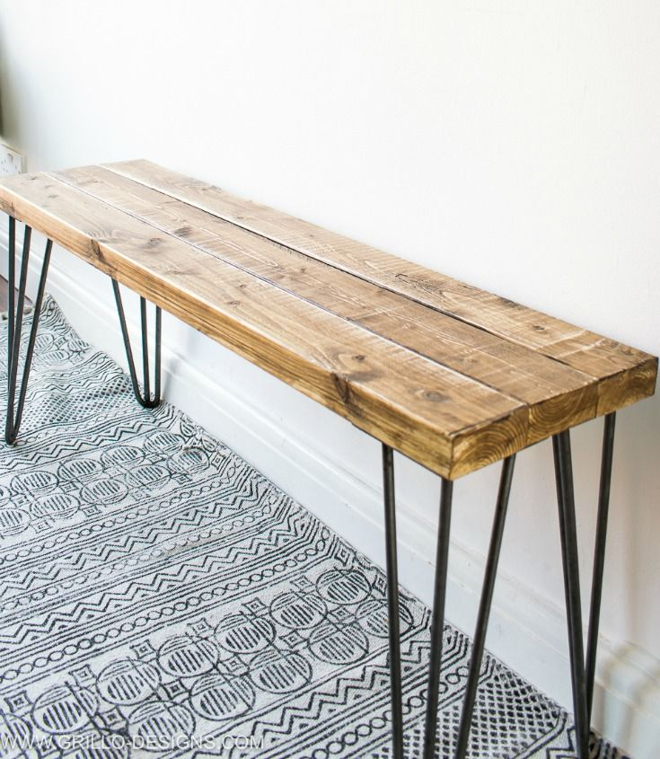 Side angle of hairpin legs bench