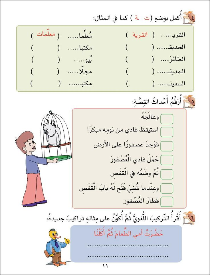 Sample Page -6 From 1st Grade Part 2 Learning Arabic Language Workbook