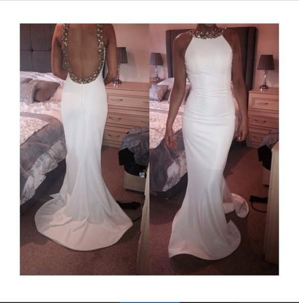 Backless Prom Dresses,White Prom Dress,Backless Prom Gown,Open Back Prom Dresses,Open Backs Evening Gowns,2018 Evening Gown For Teens Girls PD20184996