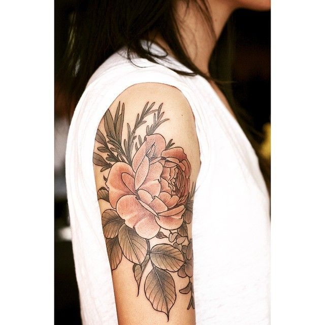 Floral/botanical tattoo by Alice Carrier
