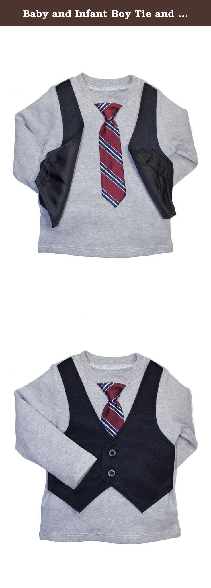 Baby and Infant Boy Tie and Vest Dress Up Long Sleeve T-Shirt by Blume - Gray - 18 Mths. Baby or toddler boys tie and vest dress up long sleeve t-shirt by Blume. The tie and vest are attached to the shirt, makes dressing up your toddler or baby a breeze or just keeping your little guy styling all the time.