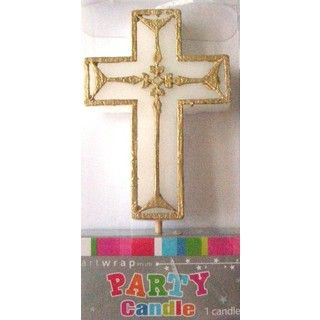 Gold Formal Cross Candle Pick Christening Party Cake Decoration Baptism