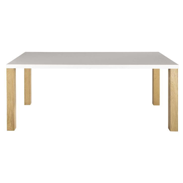 Table de salle à manger en bois blanche L 200 cm Austral