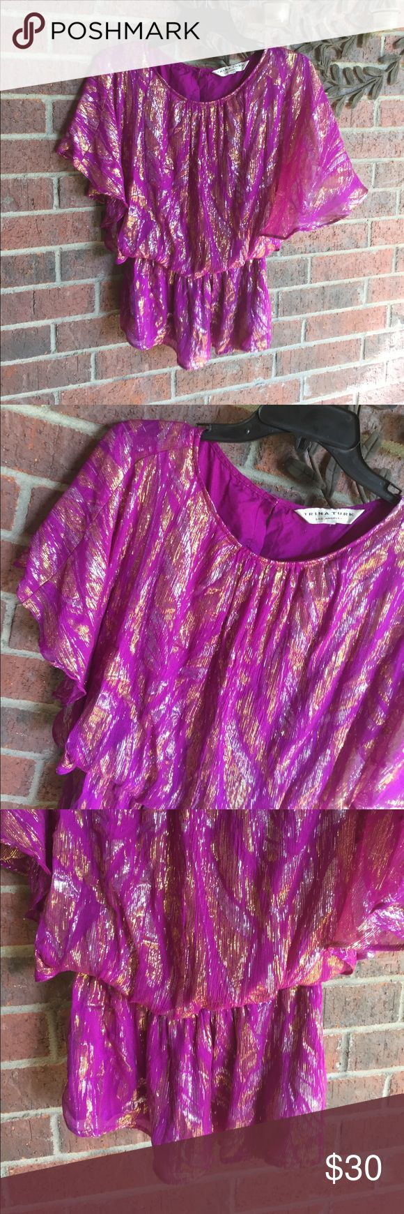 Trina Turk Purple metallic Blouse size Small S Features gathered waist and flyaway back opening.  Gorgeous for your dressier occasion!  Size Small (6145T) Trina Turk Tops Blouses