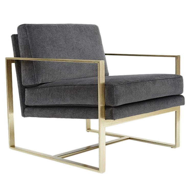 Box Chair -  Industrial, Upholstery  Fabric, Metal, Leather, Armchair by Lawson Fenning (=)