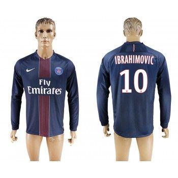 Paris Saint Germain PSG 16-17 Zlatan Ibrahimovic 10 Hemmatröja Långärmad  #Billiga #fotbollströjor