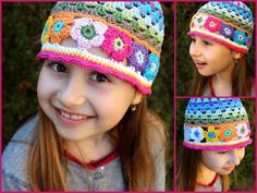 Tavaszi horgolt sapka ötletek, crochet flower hat