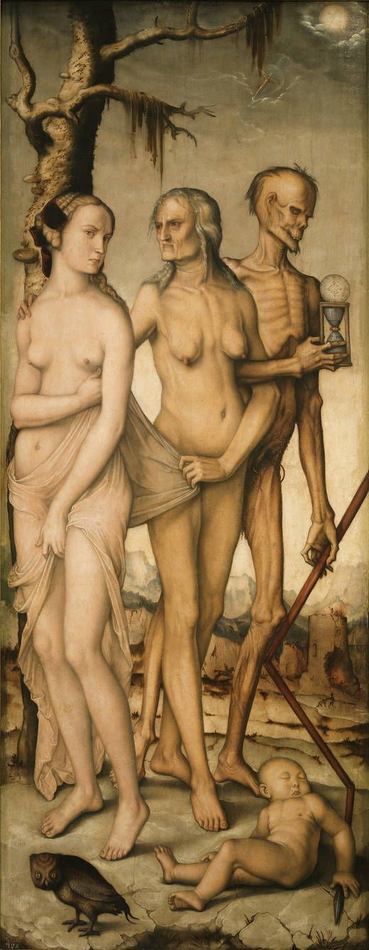 'The Ages of Man and Death' - Author: Baldung Grien, Hans - Procedence Royal Collection -- This painting and its companion, 'Harmony, or The Three Graces'  compose a complex but clear moralizing allegory about the fragility of human existence in general, and the destruction of beauty in particular. This one is characterized by a tenebrous Germanic expressionism that tends to move the viewer in the manner of a vanitas, a reminder of the brevity of life.