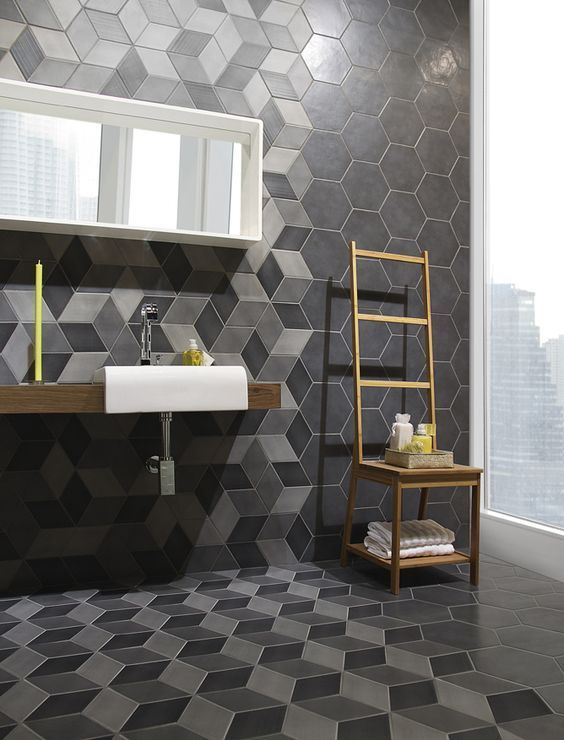 39 modern bathroom decor with grey and black hex tiles - DigsDigs