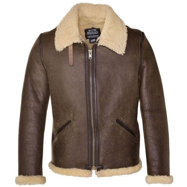 Schott Nyc Men's Vintage Sheepskin B-6 Jacket (19,760 EGP) ❤ liked on Polyvore featuring men's fashion, men's clothing, men's outerwear, men's jackets, brown, mens jackets, mens sheepskin jacket, mens brown jacket and mens vintage jackets