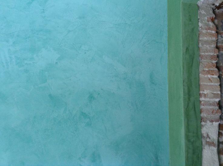 Stucco veneziano in acqua blue and veronese green. This is my italian bathroom!