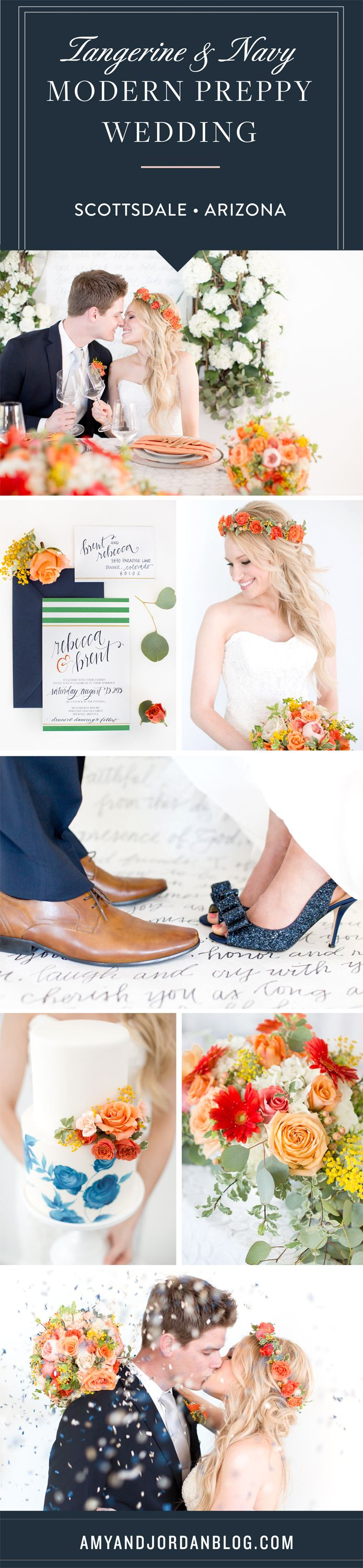 Tangerine and navy modern preppy wedding. Hand painted wedding cake and macaroons. Bride in a floral crown. The bride and groom's vows as an isle runner.