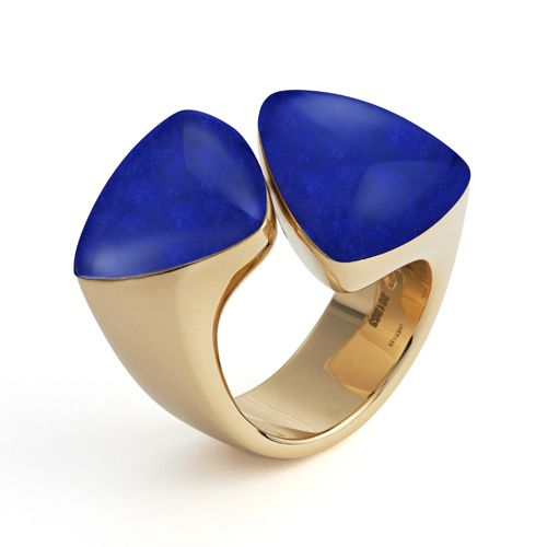 A lapis lazuli, rock crystal and 18ct pink gold FRECCIA ring by Vhernier