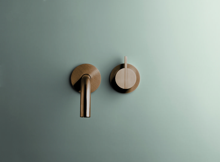 minimalist bathroom | PB SET01 mixer and spout in Raw Copper finishing | Dutch Designer Brand COCOON