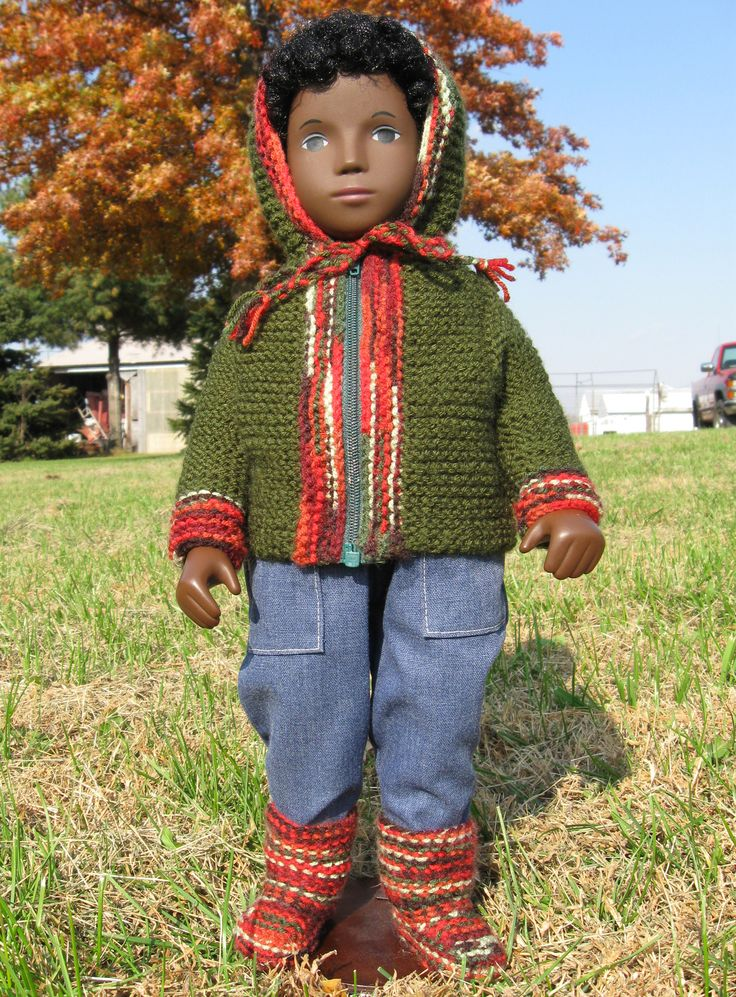"Caleb models a Tomten and knit boots, designed by Elizabeth Zimmerman, first published in Woolgathering #64, now available online as a pattern, ""Doll Clothes"" (SPP 26) at http://schoolhousepress.com"