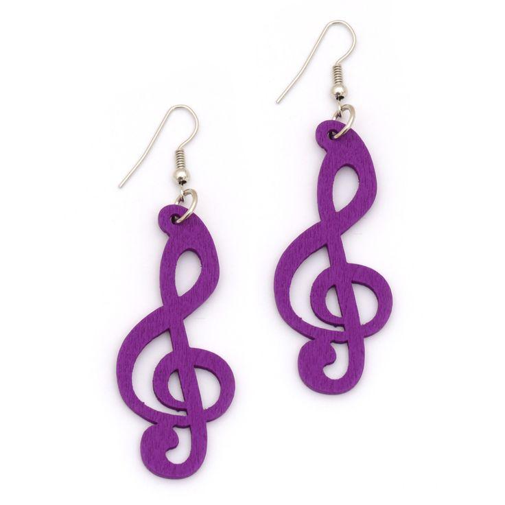 Purple wooden clef cut out design drop earrings