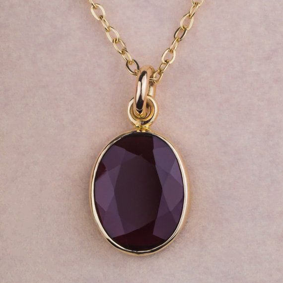 14K Yellow Gold Garnet Necklace Multi-Faceted by ZEHAVAJEWELRY