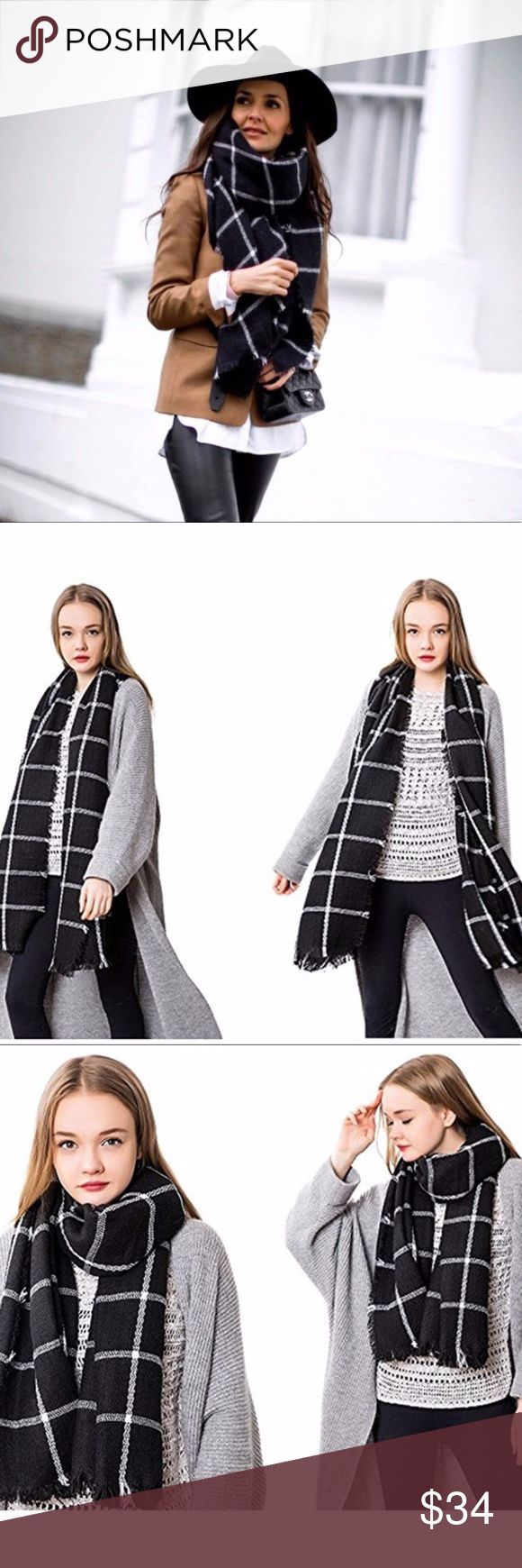 """Black & White Blanket Scarf MSRP $36 Cozy and cute Black and White Blanket Scarf // our 'Nova' Scarf  Stay warm and fashionable these upcoming cold months in our Nova scarf which includes; black and white checked pattern, square scarf, super soft and warm, can be worn multiple ways!  BLANKET SCARF  MODA Boutique 100% acrylic  Measurements: 55"""" x 55"""" Moda boutique SF modabyboutique  MODA-0002SB Moda Boutique Accessories Scarves & Wraps"""