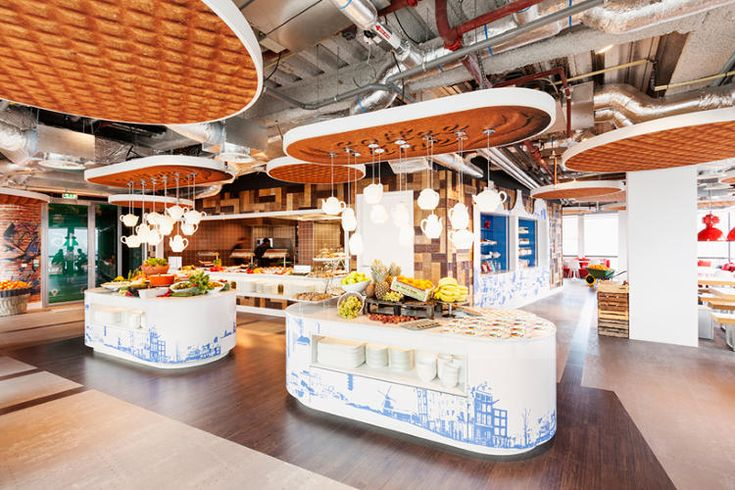 Stroopwaffel ceiling tiles in Google's Amsterdam offices. LOVE the teapot light fixture!!!